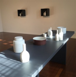 Kirsten Coelho ceramic work in her exhibition 'In the Falling Light' at the Drill Hall Gallery