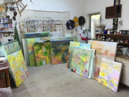 Organising the paintings to pack the exhibition for Form Gallery, Queanbeyan