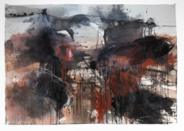 Ruth le Cheminant Burnt Stumps Hill End paint mixed media on SW paper 2014 100cm x 140cm