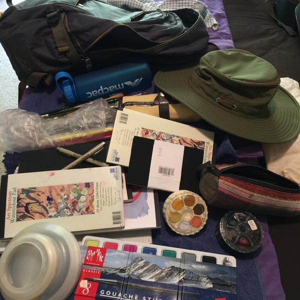 Ruth le Cheminant preparing for an art retreat in the Flinders Ranges