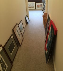 Paintings ready for first hang for the year at Gallery Blackheath - Ruth le Cheminant