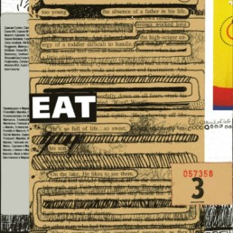 Ruth le Cheminant Eat Everyday 2016 mixed media on board 20x14cm