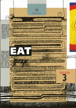 Ruth le Cheminant Eat Everyday 2016 mixed media on board 20x14cm