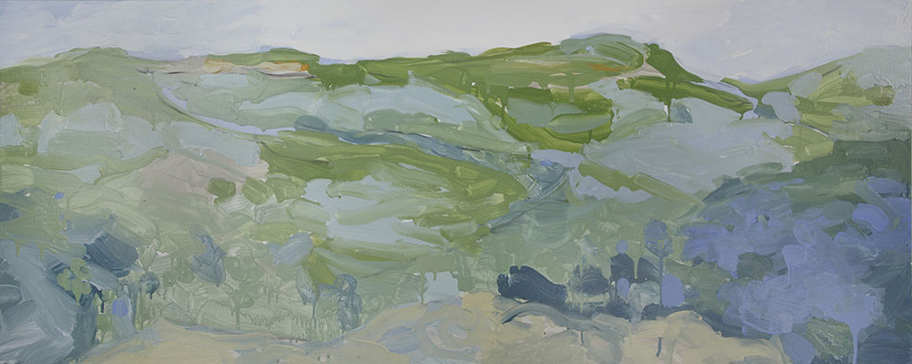 Ruth le Cheminant Blue Hills Blue Mountains 2016 acrylic paint on canvas 60cm x 150cm