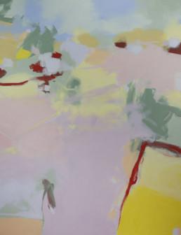 Ruth le Cheminant Summer Landscape in Houn Valley Tasmania acrylic paint on canvas 120x90cm
