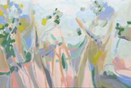 Ruth le Cheminant Through the Trees 2016 acrylic paint on canvas 63cm x 94cm