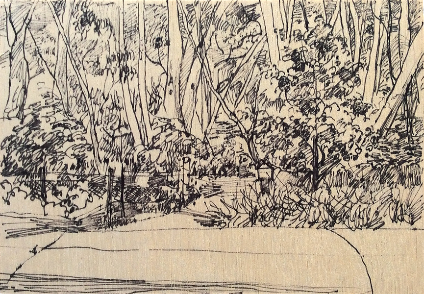 Ruth le Cheminant Down the Driveway to the Bush 2016 pen on board 14x20cm