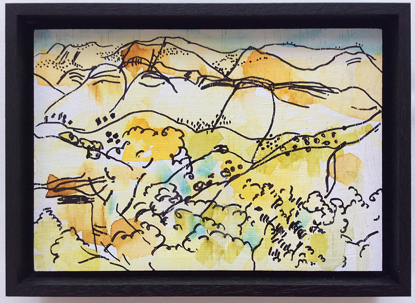 Ruth le Cheminant View at Angorichina 1 2016 pen & watercolour on board 14x20cm.jpg framed