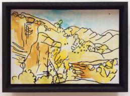 Ruth le Cheminant View at Angorichina 2 2016 pen & watercolour on board 14x20cm.jpg framed