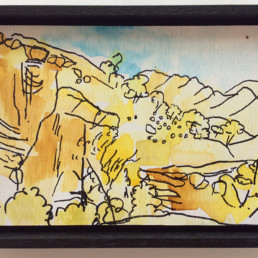 Ruth le Cheminant View at Angorichina 2 2016 pen & watercolour on board 14x20cm.jpg framed