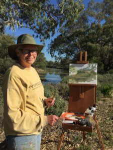 Ruth le Cheminant plein air painting on the banks of the Darling River, Evandale NSW