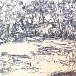 Ruth le Cheminant Darling River, Evandale 2017 pen on board 14cm x 20cm
