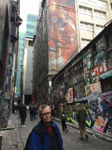 Enjoying Hosier Lane in the CBD of Melbourne