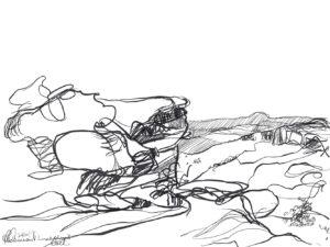 Ruth le Cheminant Lincolns Rock sketch 2