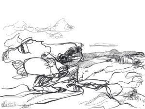 Ruth le Cheminant Lincolns Rock sketch 3