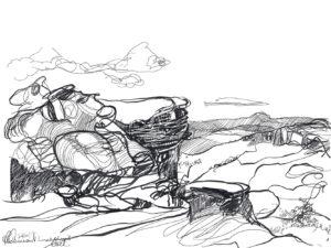 Ruth le Cheminant Lincolns Rock sketch 4