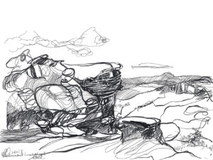 Ruth le Cheminant Lincolns Rock sketch 5