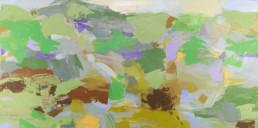 Ruth le Cheminant Road To Cowra 2018 acrylic paint on canvas 38cm x 76cm