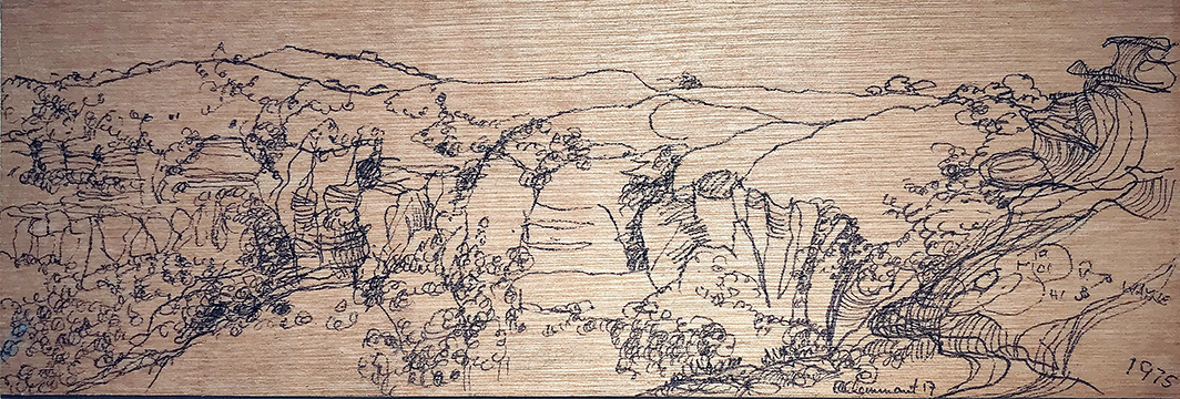 Early Morning at Lincolns Rock 2017 pen on board 10cm x 20cm