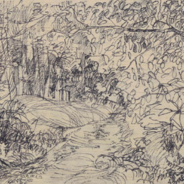 Ruth le Cheminant The Rozelle track 2017 pen on board 14cm x 20cm
