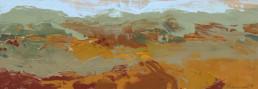 Ruth le Cheminant Liverpool Plains Landscape 1 2018 acrylic on board 10cm x 30cm