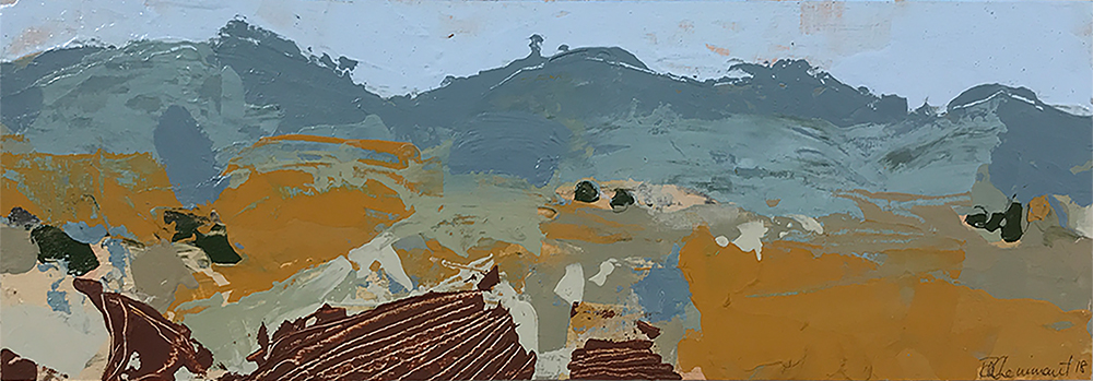 Ruth le Cheminant Liverpool Plains Landscape 2 2018 acrylic on board 10cm x 30cm