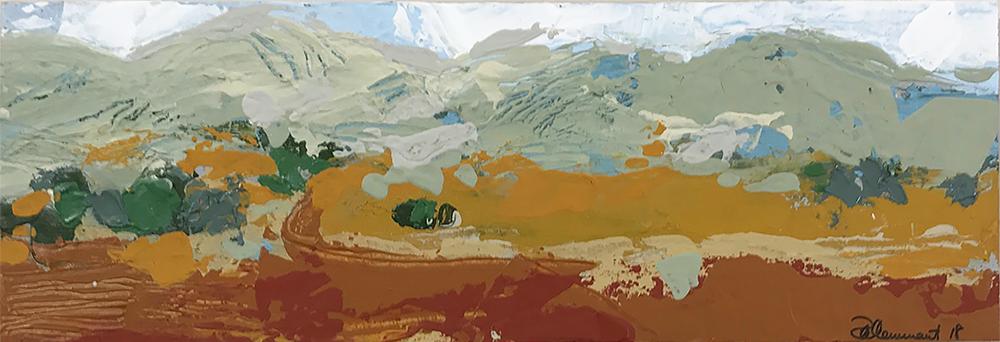 Ruth le Cheminant Liverpool Plains Landscape 3 2018 acrylic on board 10cm x 30cm