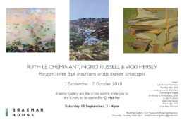 Ruth le Cheminant Horizons Braemar Gallery invitation opening 15 September 2018
