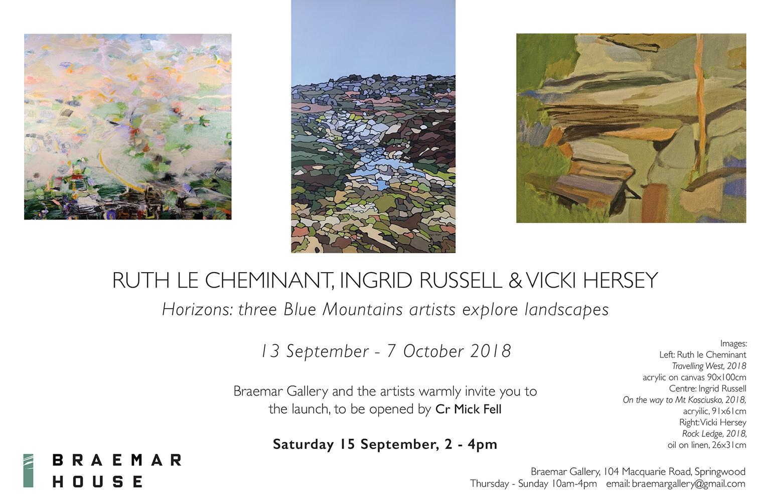 Ruth le Cheminant Horizons Braemar Gallery invitation opening 15 September 2018