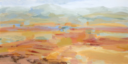Ruth le Cheminant Liverpool Plains from the Hill behind Nicks place 2018 acrylic on canvas 30cm x 60cm