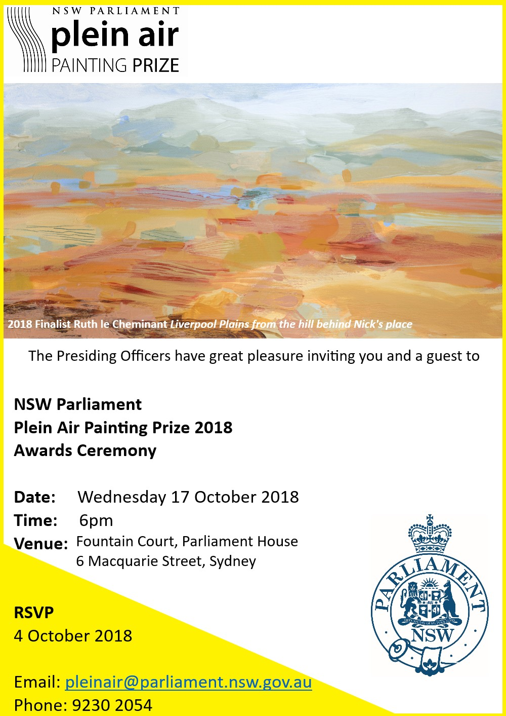 When the Plein Air Invitation as a finalist arrives and my painting is used on the invitation image I was chuffed
