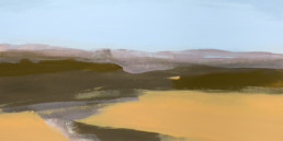 Ruth le Cheminant Liverpool Plains in Winter 3 2018 acrylic on canvas 30cm x 60cm