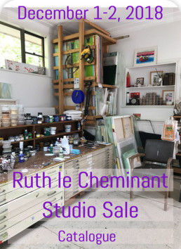 Ruth le Cheminant studio sale on weekend Dec 1 & Dec 2