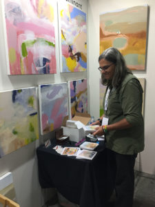 Setting up Ruth le Cheminant The Loaded Brush at TOAF 2019 with the help of Anny Druett