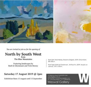 North by South West from the Blue Mountains exhibition invite