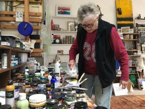 Ruth le Cheminant in the studio 2